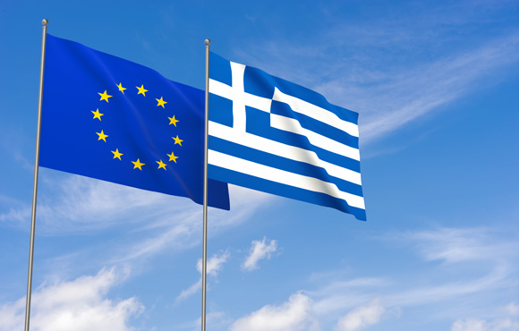 Greece and EU flags