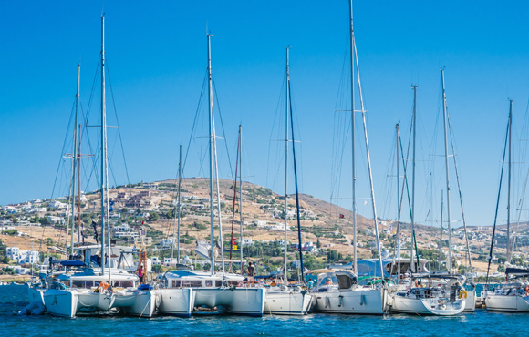 sailing boats in a greek harbour